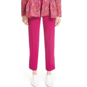 Lela Rose Pink Wool Button Placket Trousers 16 NWT